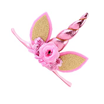 Lovely Kids Baby Flower Sequin Ears Unicorn Horn Headband Party Cosplay Stretch