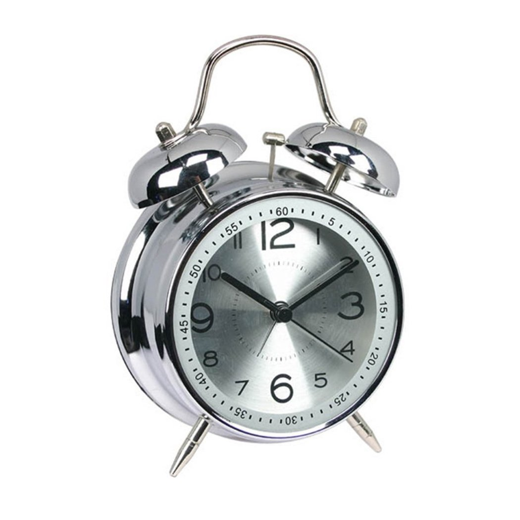 FUNRUI 4'' Metal Twin Bell Alarm Clock, Retro Vintage Desk Table Bedside Silent Analog Quartz Alarm Clock for Heavy Sleepers Kids Home Bedrooms Travel School Battery Operated with Light (Silver)