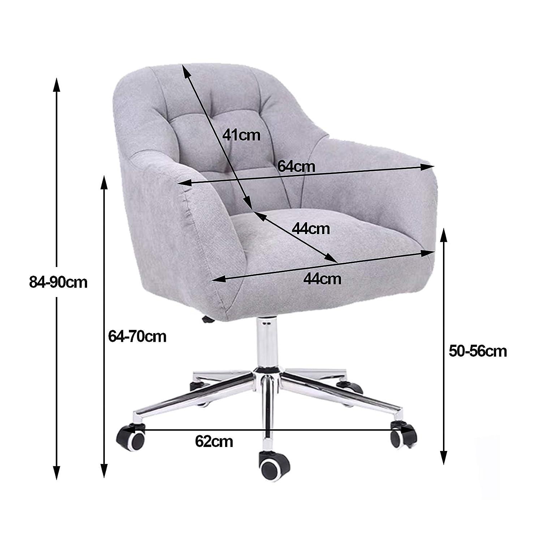 Hem kontorsstol, stoppad mittbaksvängd dator skrivbord uppgift stolar justerbar höjd med armstöd för hemmet vardagsrum Khaki