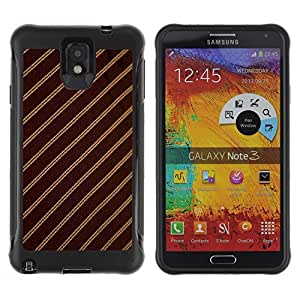 iKiki Tech / Estuche rígido - Stripes Fabric Pattern Design Textile Brown - Samsung Note 3
