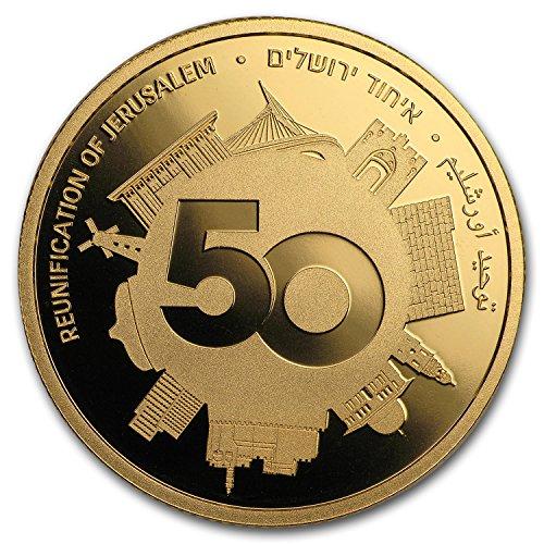 2017 IL Israel 1/2 oz Gold 10 NIS 50 Years Reunited Jerusalem Proof 1/2 OZ Brilliant Uncirculated