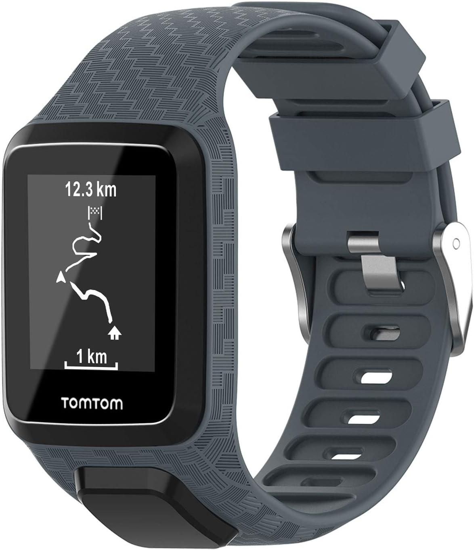 Keweni Correa Compatible con Tomtom 3 Watch, Correa de Repuesto de Silicona de para Tomtom Adventurer Golfer 2 / Runner 2/3 Spark/Spark 3 Sport (Gris)