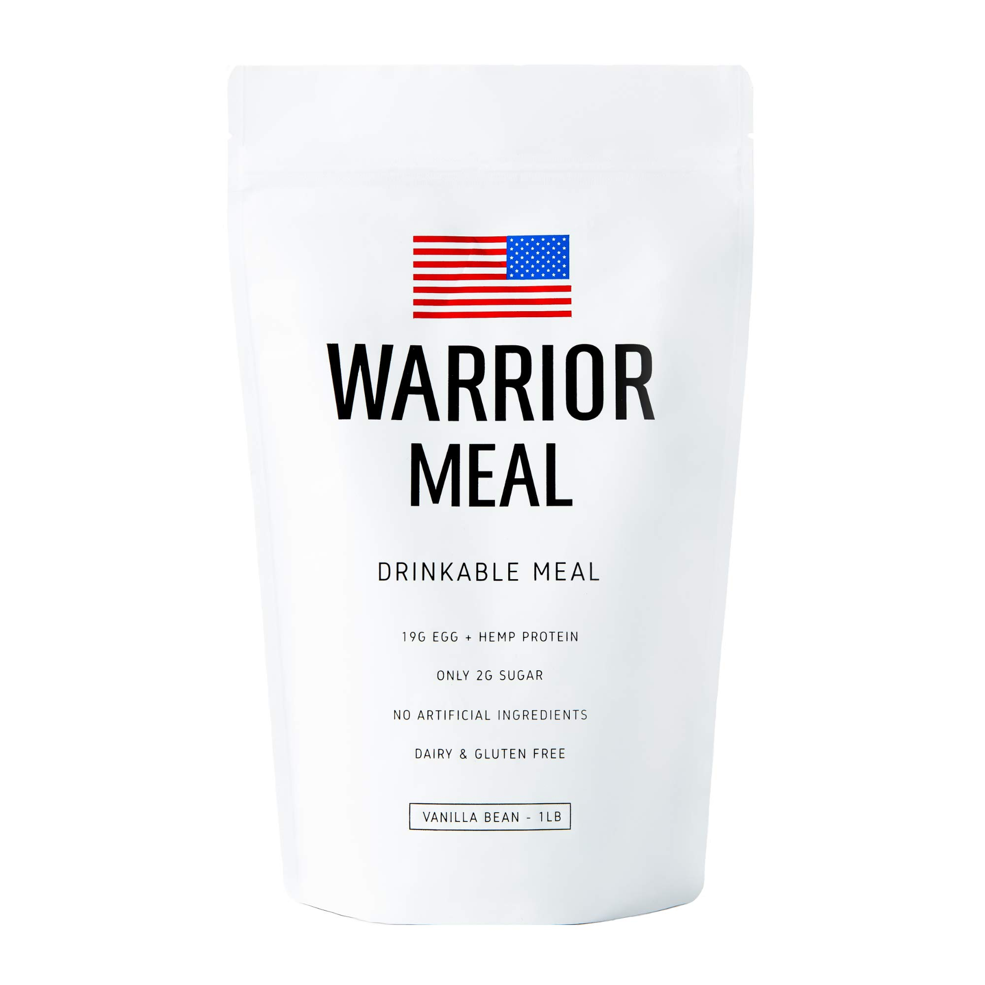 Warrior Meal - All Natural Protein Shake & Meal Replacement, Vanilla Bean, 10 Meal Bag (1LB), Dairy-Free, Soy-Free