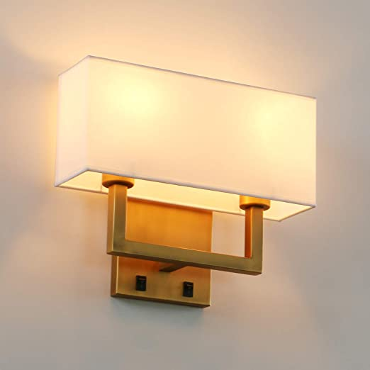 Permo 2-Lights Wall Sconce Light Fixture Antique Finish with White Textile Shades and 2pcs On/Off Switch Button Living Room Bedside Nightstand Light