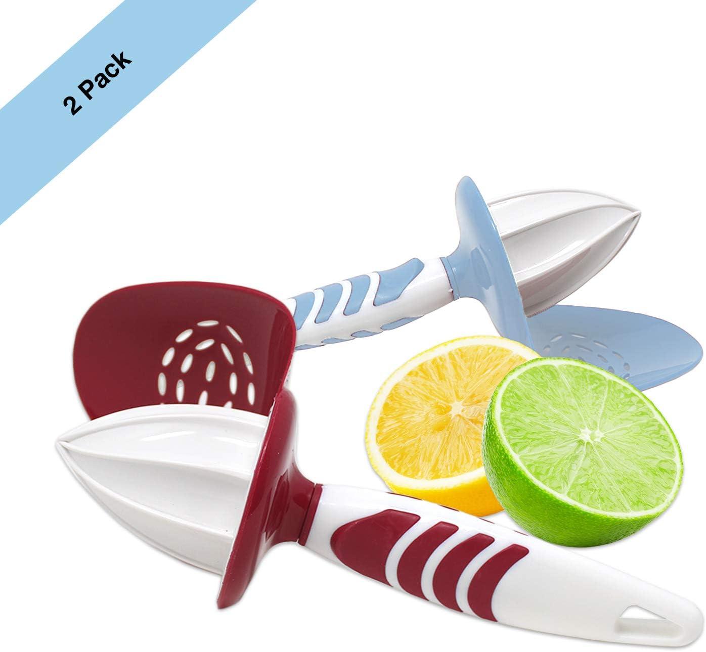Lemon Lime Squeezer with Seed Catcher lemon juicer handheld | Comfort Grip Citrus Reamer | BPA Free | Assorted Colors (2 Pack)