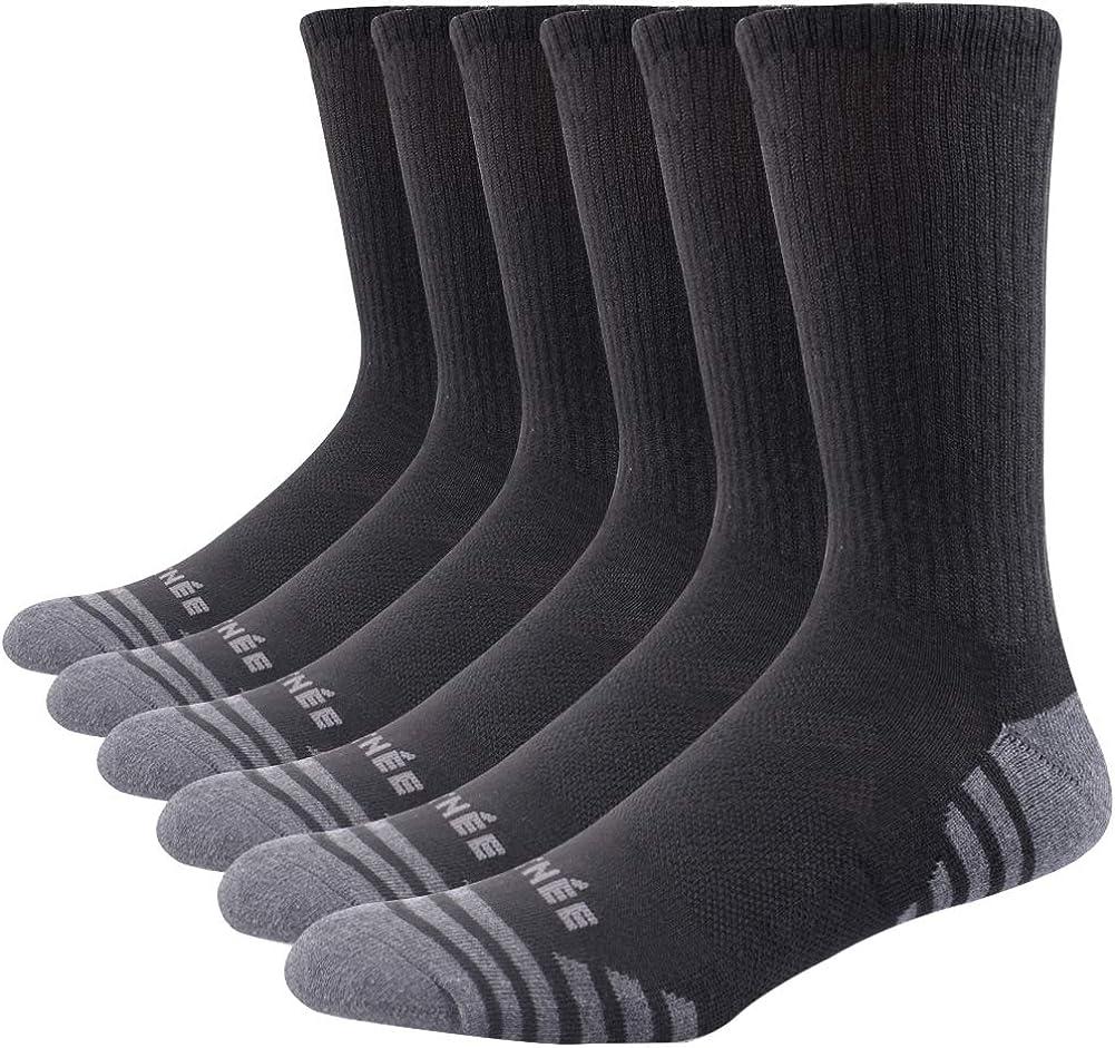 JOYNÉE Men's 6 Pack Athletic Performance Cushion Crew Socks for Training