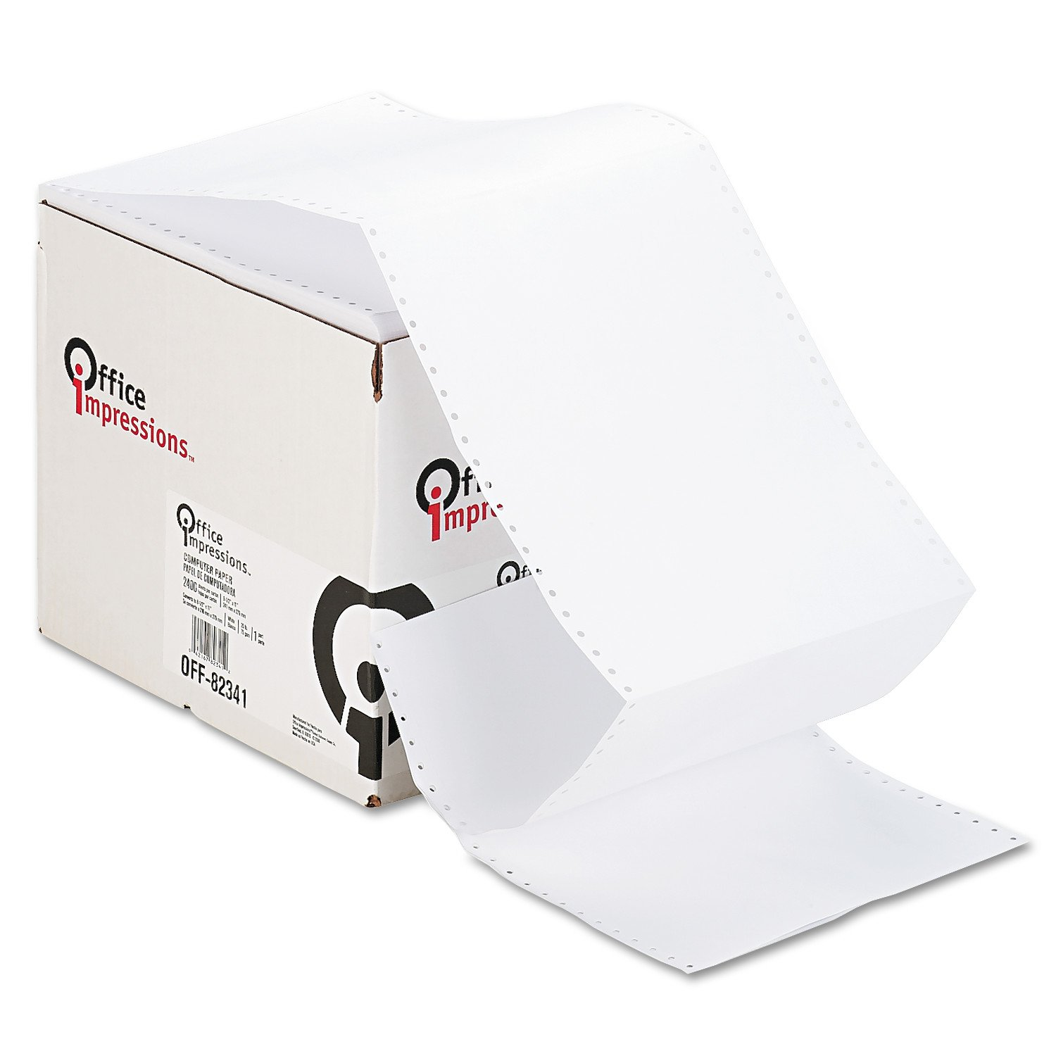 Office Impressions Computer Paper, 20lb, 9-1/2 x 11, Letter Trim Perforation, White, 2400 Sheets