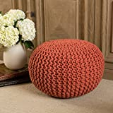 Poona Hand Knitted Artisan Round Pouf (Coral)
