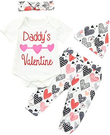 Baby Girls First Valentines Day Outfit Daddys Valentine Romper Heart Pants Hat Headband