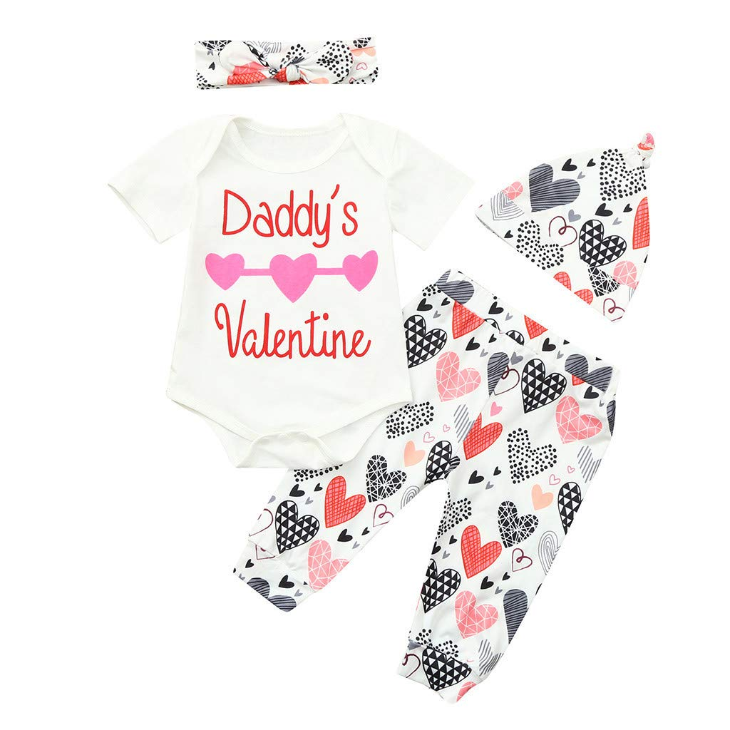 NUWFOR Infant Baby Valentine's Day Letter Print Romper+Pants+Hat+Headbands Outfits Set(White,12-18Months)