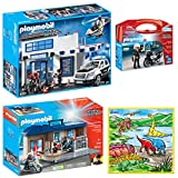 DimpleChild Playmobil Police Mega Playset Kids Toy with Police Station, Police Carry Case, Take Along Police Station with Small Washable Coloring Play Mat with 12 Washable Markers