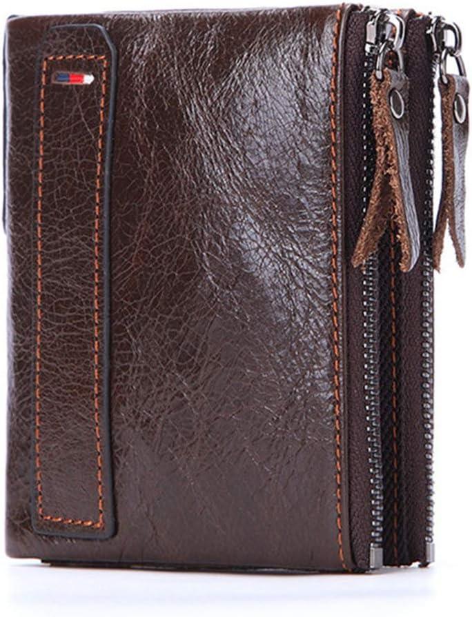 GDYX Billetera Billetera de Cuero para Hombre Portatarjetas de crédito Corto Billetera de Cuero de Vaqueta con Doble CremalleraCafé