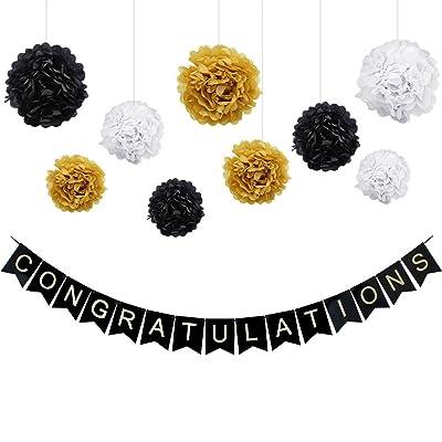 KUNGYO Félicitations décorations Kit -Congratulations Black Banner Shimmering Gold Letters, 9 Pcs Papier de soie Pom Poms Fleur guirlande pour anniversaire, retraite, anniversaire, fête de remise des dipl&