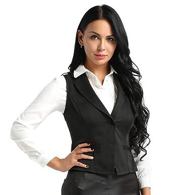 592ff45d9da YiZYiF Womens Stretchy Waistcoat Work Business Button Down Short Blazer  Dressy Vest