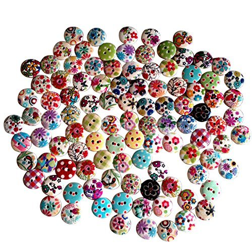 100 PCS Kanggest 2 Holes Colorful Round Flower Printed Wooden Buttons for Sewing Scrapbooking and DIY Crafting Decoration – 15mm – The Super Cheap