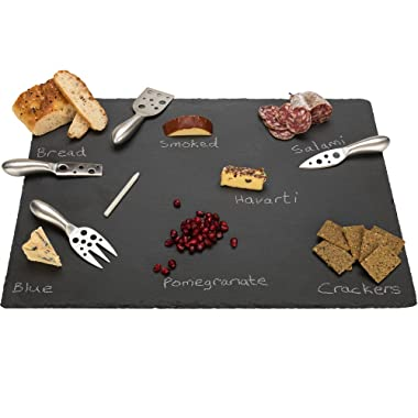 20  x 14  Extra Large Slate Cheese Board and Stainless Steel Cutlery Set - Includes 4 Knives plus a Soap Stone Chalk, Perfect Cheese Platter Slate Board, Wine and Cheese Serving Board Brie Swiss