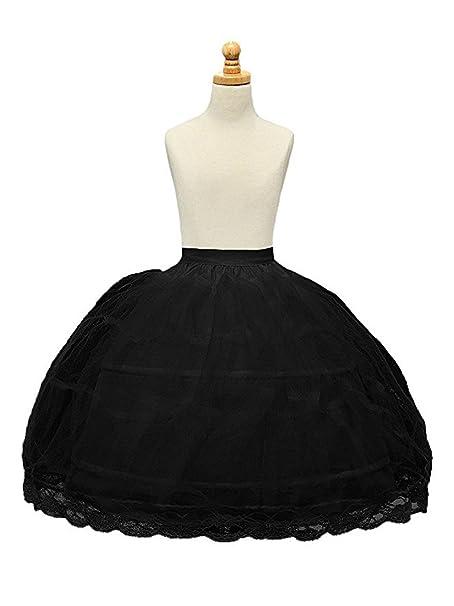 2aeaa14dc5cc BRL MALL 2 Hoop White Girls' Petticoats Children Slip Flower Girl Petticoat  (Black)