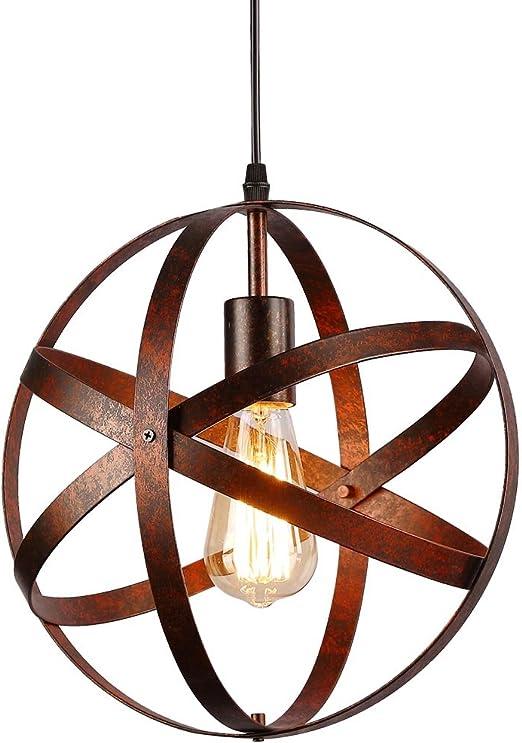 Lámpara colgante esférica industrial,Lámpara de techo metal Retro ...