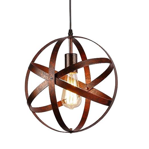 Lámpara colgante esférica industrial,Lámpara de techo metal Retro Vintage rústico,E27 Lámparas de araña para en ...