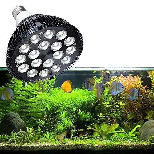 KINGBO 18W LED Aquarium Light 6500K Fish Tank Water Plants Saltwater Freshwater Planted Tank Lights Clamp for Aqua-Plants Coral Reef Fish Nano Tank 20 Gallon Par 38