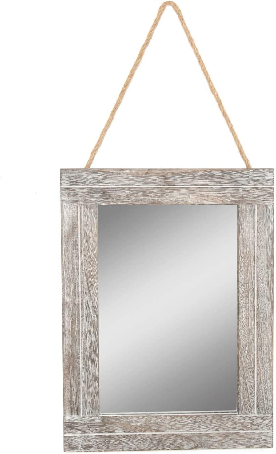 Pomeat 16'' X 12'' Rustic Wood Framed Wall Mirror, Farmhouse Mirror with Hanging Rope for Vintage Home Décor for Entryway, Bedroom, Bathroom, Dresser, Hallway (WashBrown)