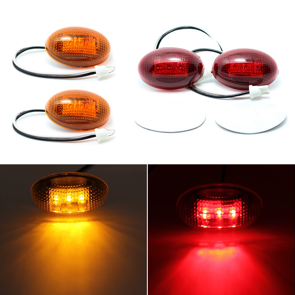 HERCOO Dually Bed Fender Side Marker LED Lights Compatiable with Ford Super Duty 1999-2010 Aftermarket Replacement, Full Kit, Amber & Red 4333019130