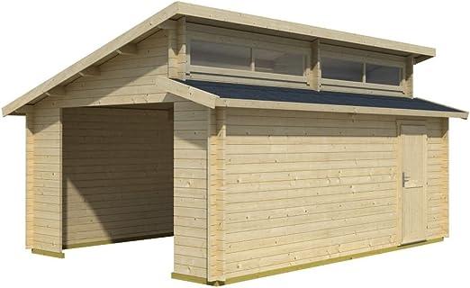 Holzgarage H28 - Caseta de madera (44 mm, superficie de 20,30 m², techo escalonado): Amazon.es: Bricolaje y herramientas