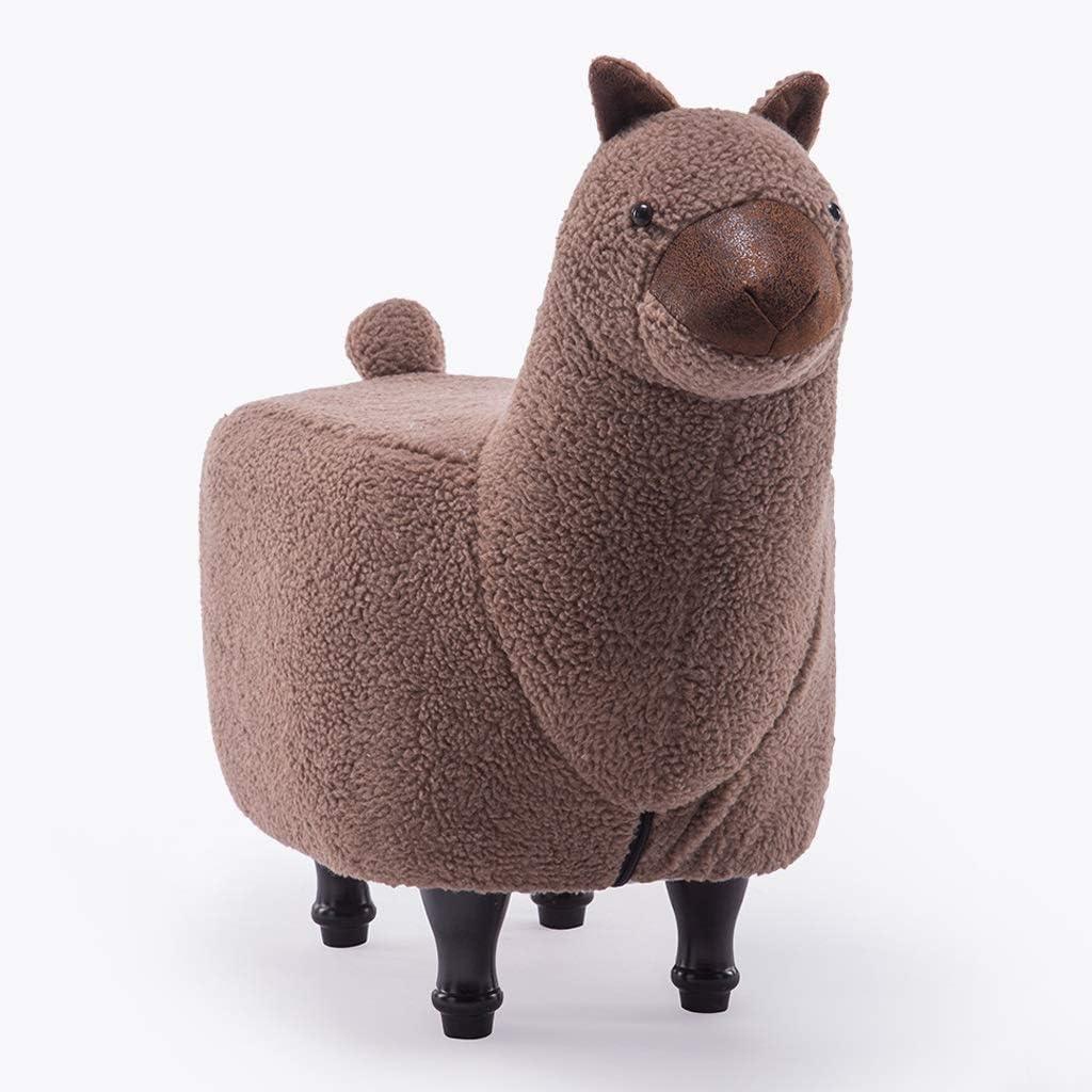 Home Kitchen Color Brown Ottomans Childrens Stool Cute Animal Alpaca Creative Designer Furniture Cartoon Lamb Footstool Delicatewnn