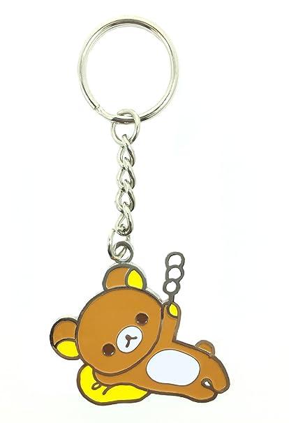 CLEVER IDIOTS INC San-X Rilakkuma Enamel Keychain, Rilakkuma Bear -  Securely Attaches to a Purse, Backpack or ID Lanyard - Authentic Japanese  Design -