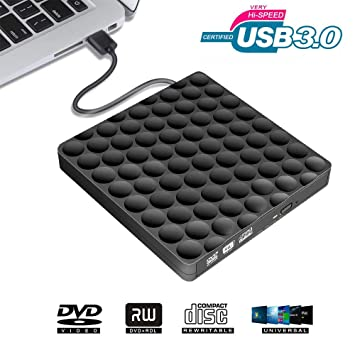 Grabadora CD DVD Externo Portátil Lector USB 3.0, Unidad Óptica Externa de CD/DVD-RW Ultra Silm CD Player para Windows/Mac OS Apple/iMac/Macbook ...