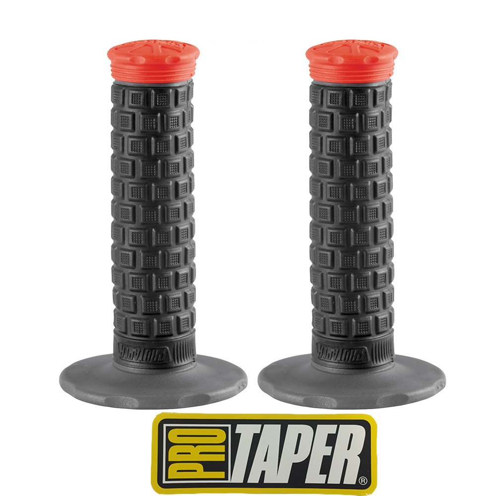 Pro Taper Pillow Top Lite MX Handlebar Grips (Black/Red) With Pro Taper Sticker