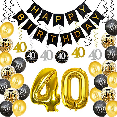 HankRobot 40th Birthday Decorations Party Supplies(40pack) Gold Number Balloon 40 Happy Birthday Banner Latex Balloons(Black, Golden) Confetti Balloons -Great for 40 Forty Years Old Birthday -