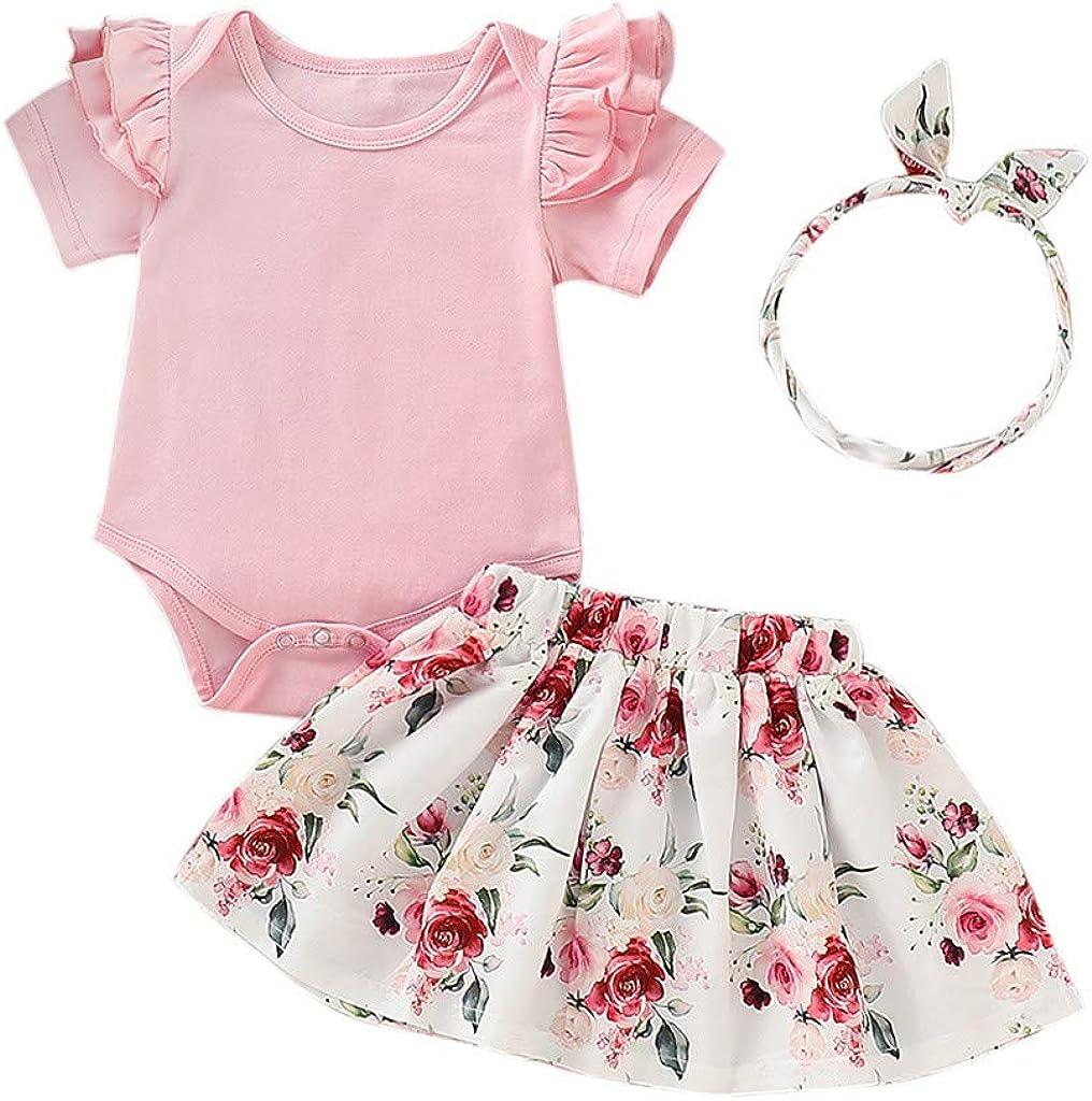 Baby Girls 2Pcs Outfits Toddler Kids Newborn Clothes,Short Sleeve Ruffles Romper+Floral Skirt+Headband Sets