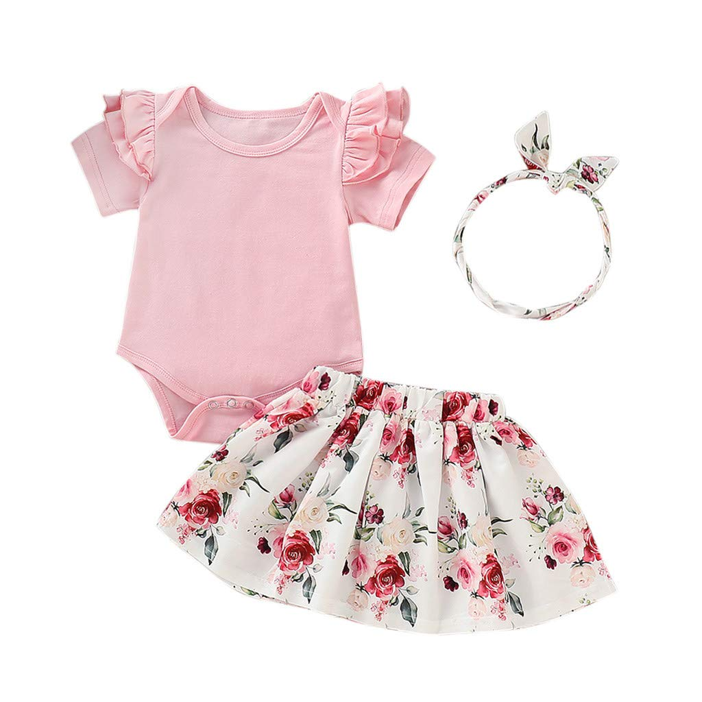 WOCACHI Toddler Infant Baby Girls Solid Ruffles Romper Floral Print Skirt Outfits Set