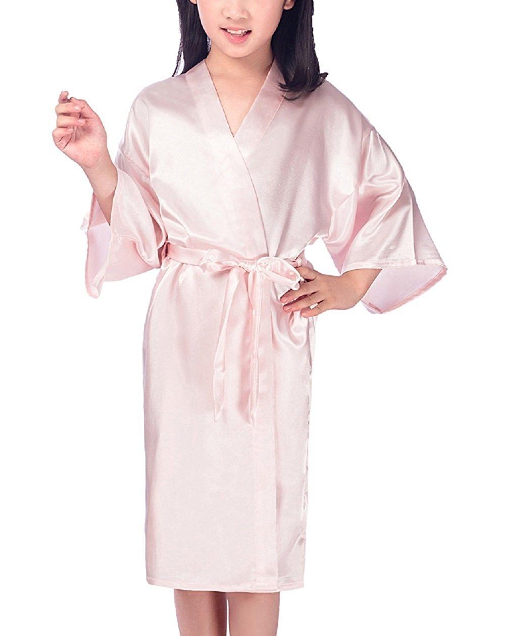 Mobarta Girls Kids' Satin Kimono Robe Fashion Bathrobe Silk Nightgown Getting Ready Robe for Wedding Spa Party Birthday Gift