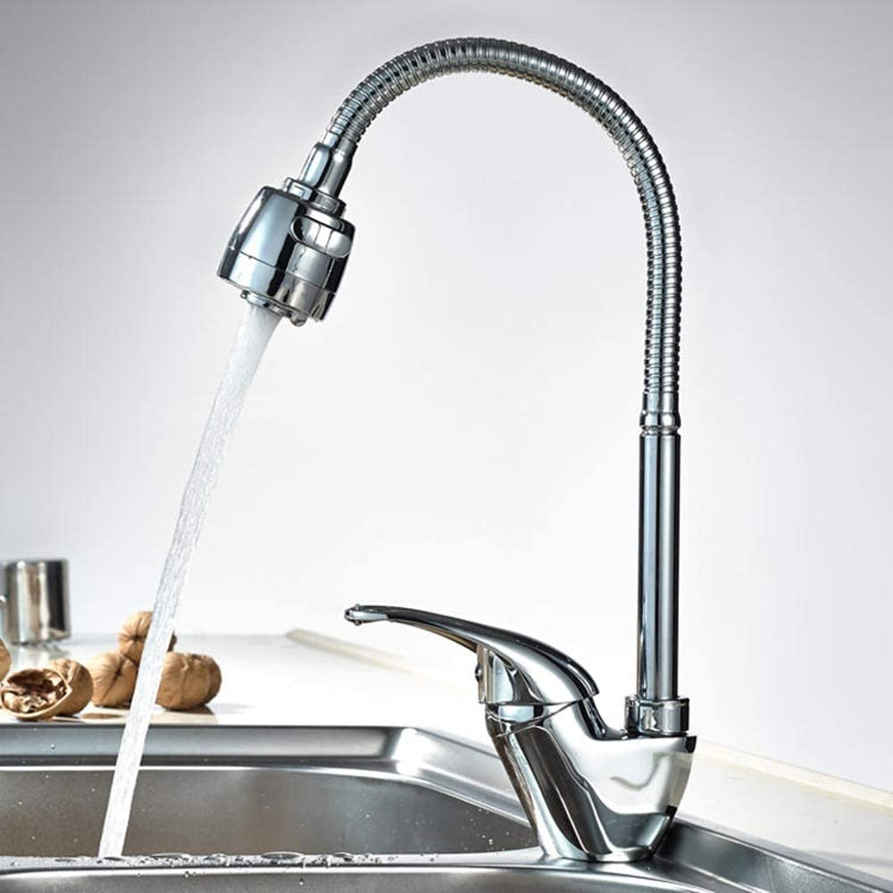 Color : Silver, Size : One Size ADPTT Faucet Spray Head Kitchen Desk Mounted Hot and Cold Single Handle Sink Faucet