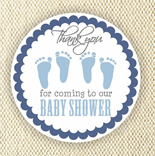 Twin Baby Boy Shower Stickers - Twin Boys Stickers - Favor Stickers - Baby Shower Favor Stickers - Baby Footprint Stickers - Set of 40 stickers from Philly Art & Crafts