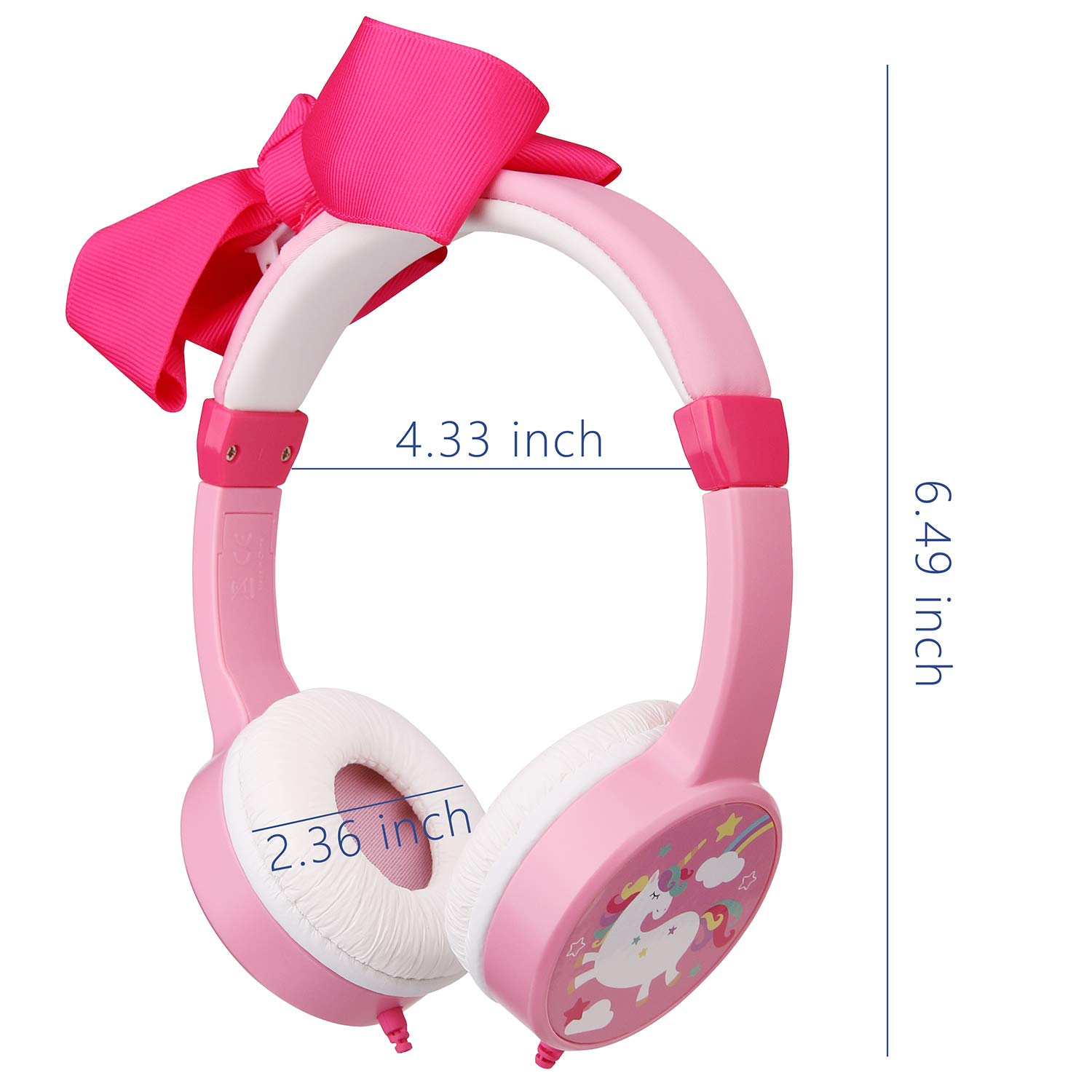 Girls Unicorn Headphones,Removable Bowknot Earphones with 85dB Volume Limited and 3.5mm Jack for iPad Cellphones Computer MP3/4 Kindle,Children Headset for School,Birthday Gifts (Bowknot) by JBUNION (Image #2)