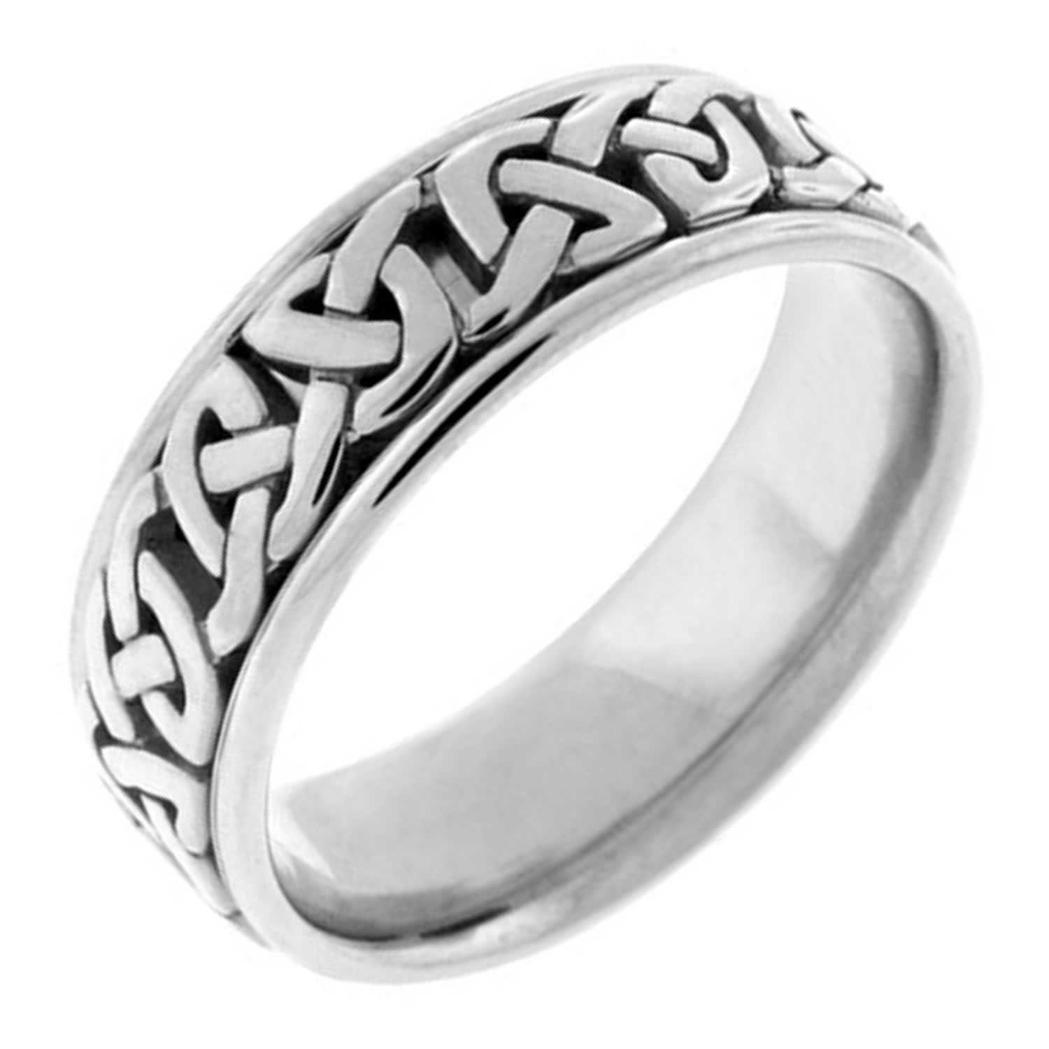 Platinum Celtic Love Knot Men's Comfort Fit Wedding Band (7mm) Size-9.5c1