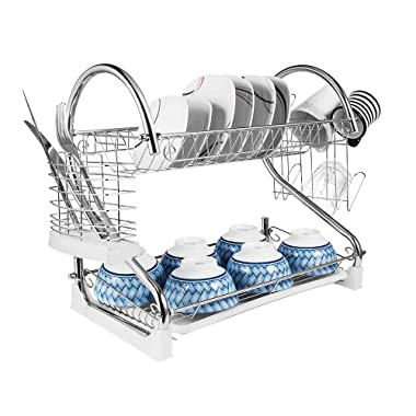 2-Tier Dish Rack and DrainBoard, 20  x15 x10  Kitchen Chrome Cup Dish Drying Rack Tray Cultery Dish Drainer …