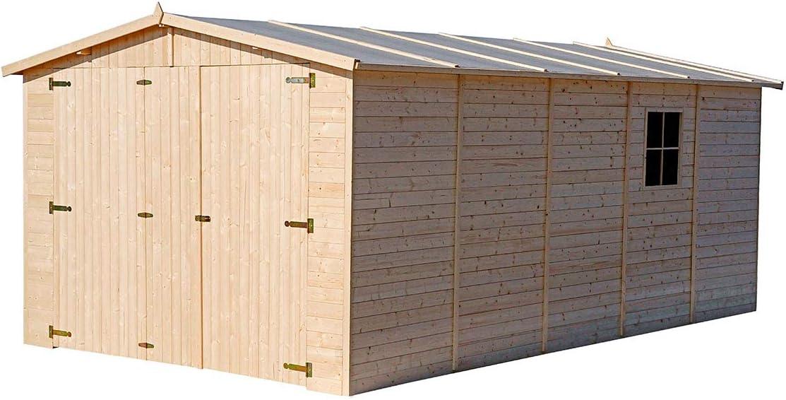Generico - Garage exterior madera 500 x 300 x 222/192 cm madera de ...