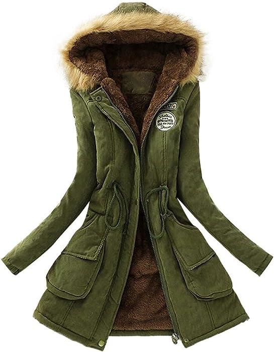 04a3f2ac865fd VESNIBA Womens Warm Long Coat Fur Collar Hooded Jacket Winter Parka Outwear  Coats Army Green