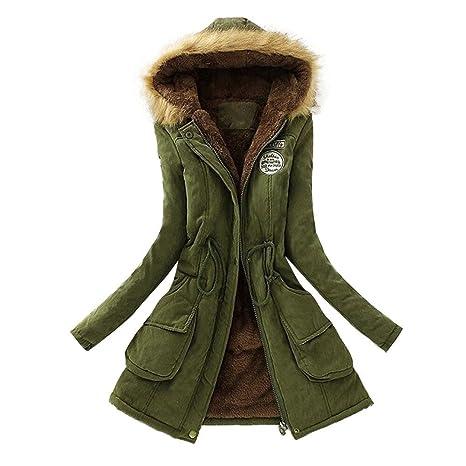 Magiyard Chaqueta de Mujeres Cuello de Piel con Capucha Parka de Invierno Desgastar Abrigo Largo Caliente (L, Verde)