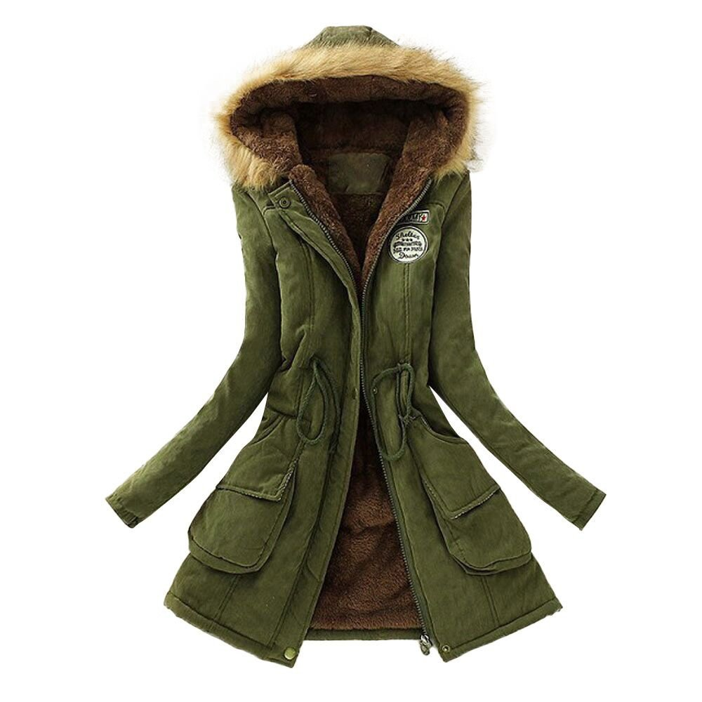 Women Warm Long Coat Fur Collar Hooded Jacket Winter Parka Outwear Duseedik Duseedik -No.9