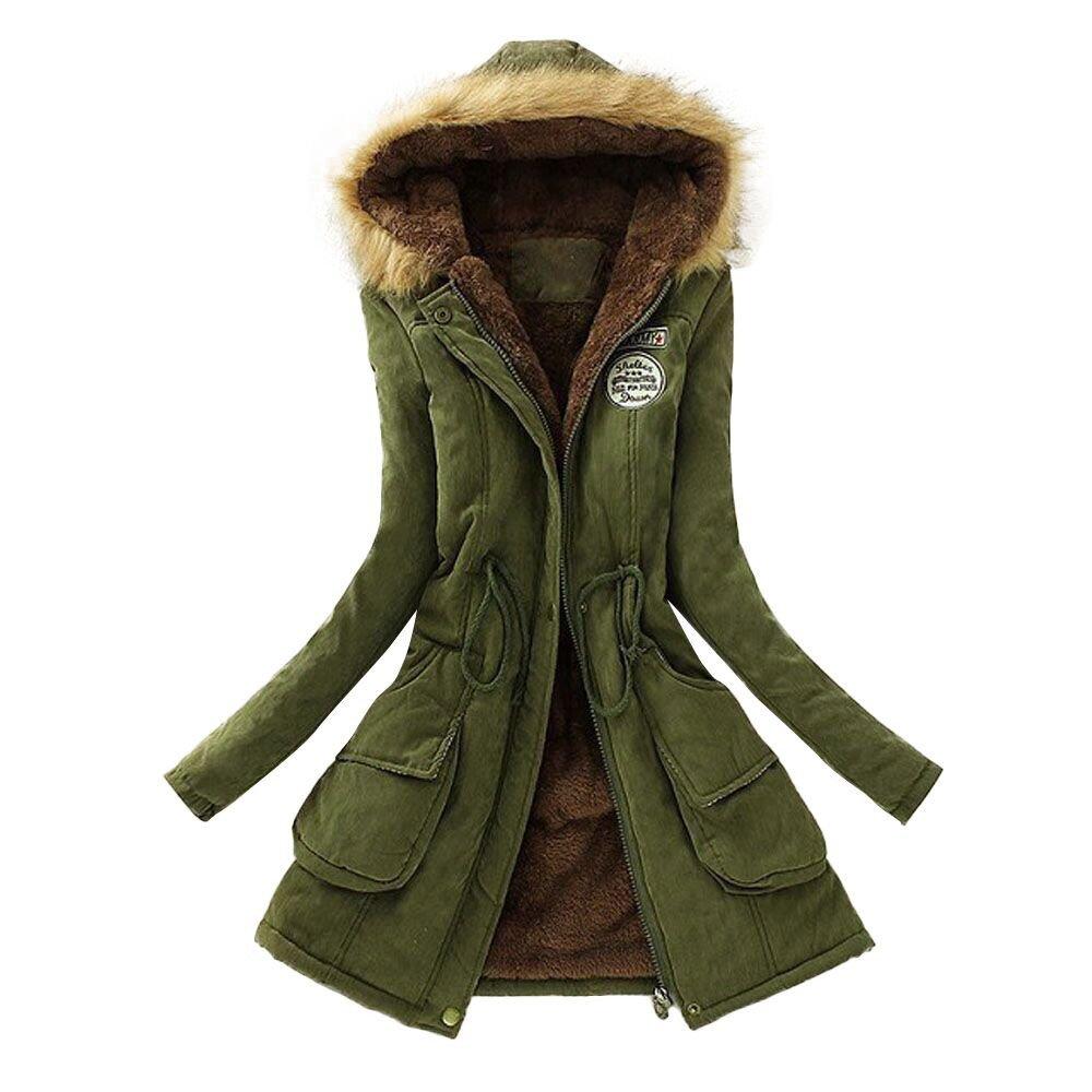 LISTHA Warm Long Coat Hooded Outwear Women Fur Collar Winter Jacket Sweater