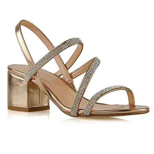 Silver Diamante 'Dain' High Block Heel Sandals Buckle