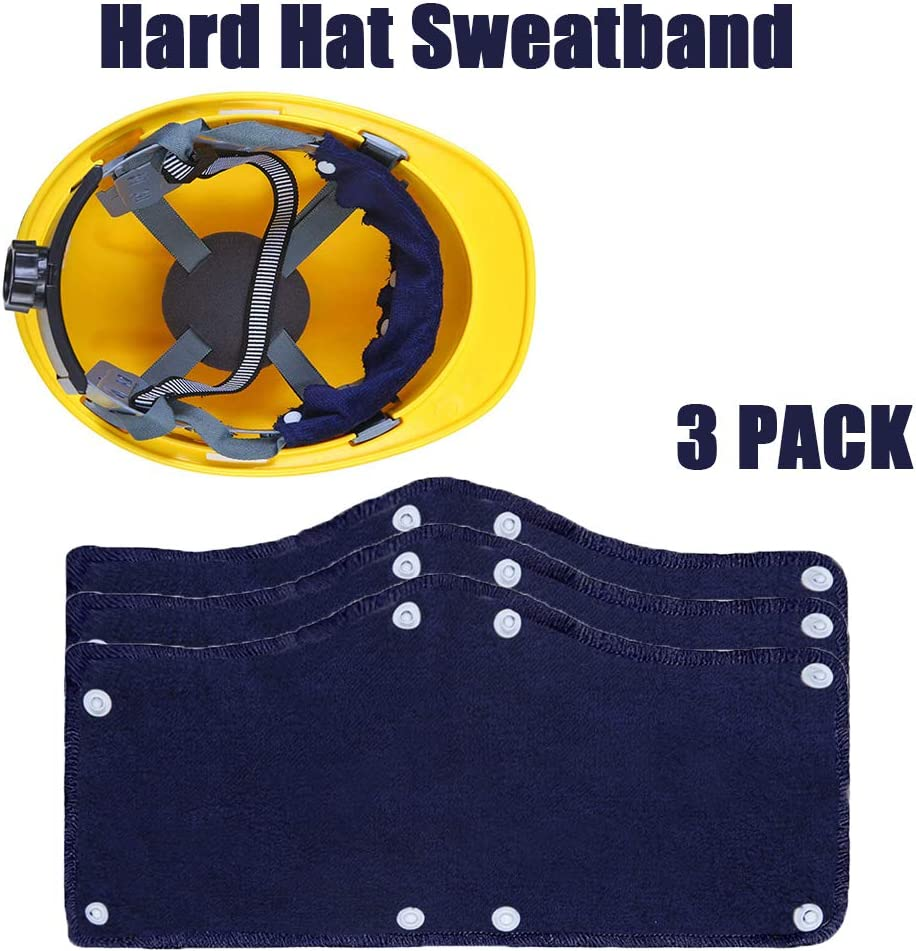 3 Pack Hard Hat Sweatband Washable Terry Cotton Hard Hat Liner Snap on Reusable Hard Hat Accessories