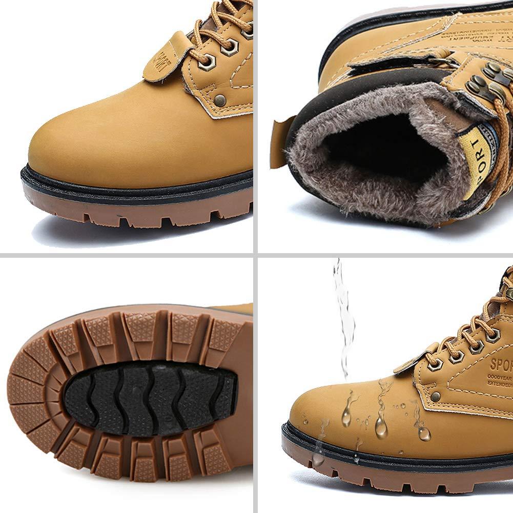 gracosy Hombre Botas de Senderismo Invierno C/álido 2019 Impermeables Antideslizante Ocio al Aire Libre Zapatos de Deporte Zapatillas de Senderismo Cordones Trainer Botas,Amarillo Marr/ón Negro