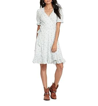 b1a56a6ea2 Denim   Supply Ralph Lauren Womens Floral Print Short Sleeves Wrap Dress  Blue XS at Amazon Women s Clothing store
