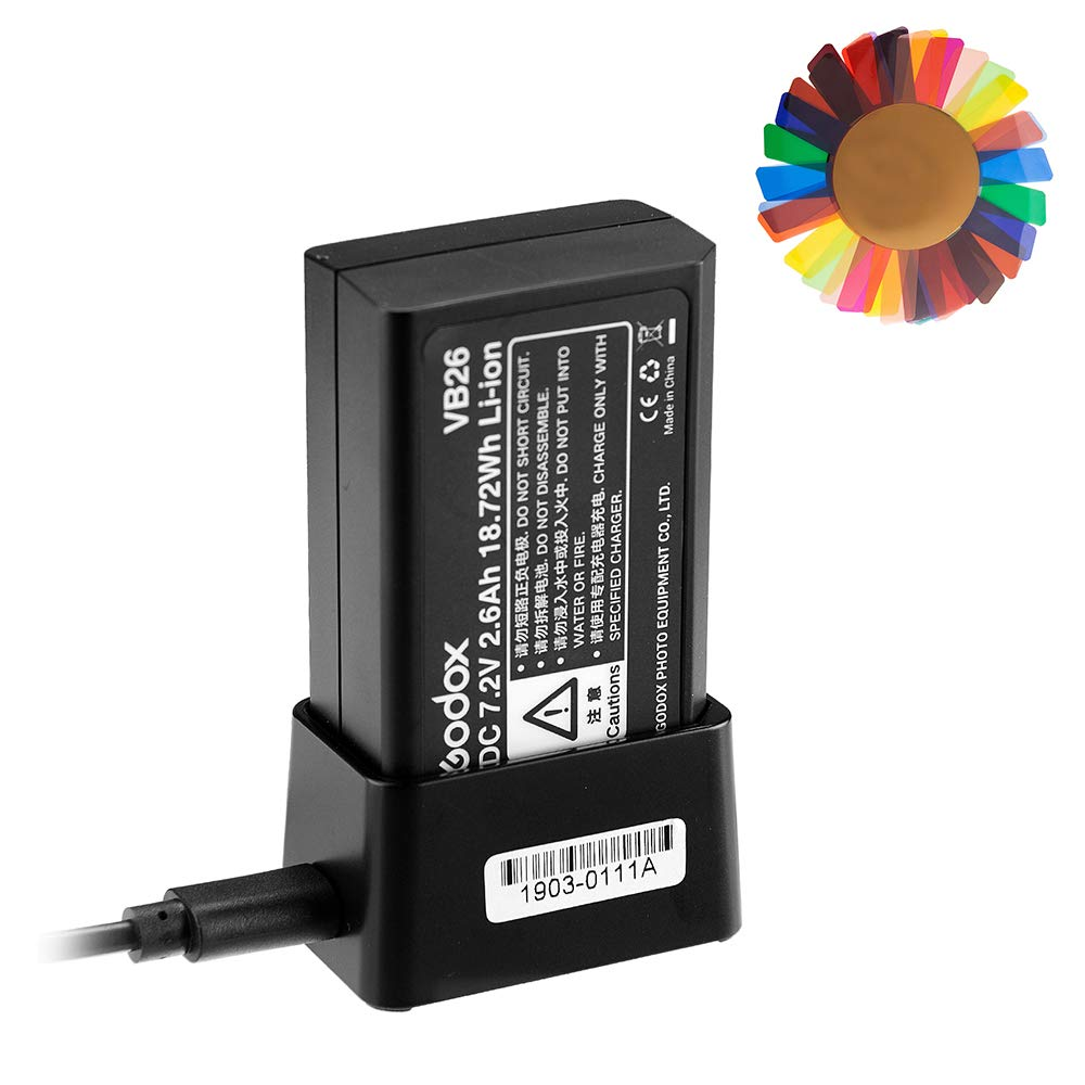 Godox V1 Battery, Godox VB26 7.2V Li-ion Speedlight Flash Battery with Godox VC26 Charger for Godox V1 Flash Series, Godox V1-C V1-S V1-N V1-F V1-O Camera Flash Speedlite, W/Pergear Color Filters by Godox